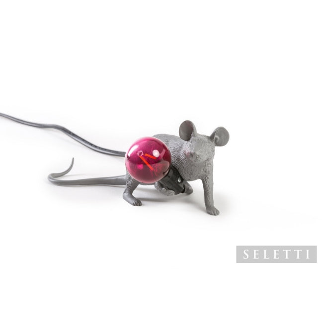 Seletti Mouse Lamp - Lying Down - Grey