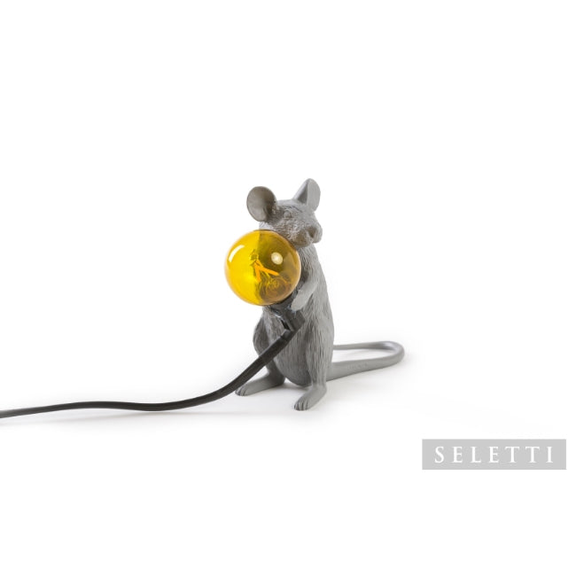 Seletti Mouse Lamp - Sitting - Grey