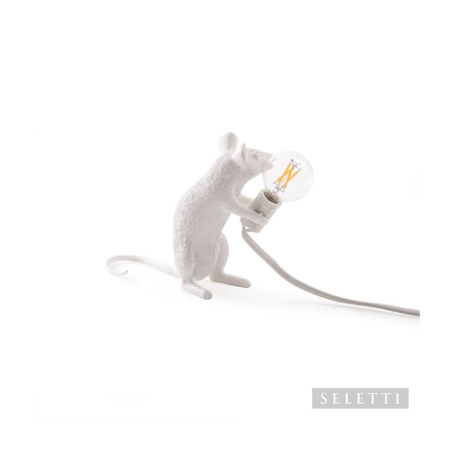 Seletti Mouse Lamp - Sitting - White