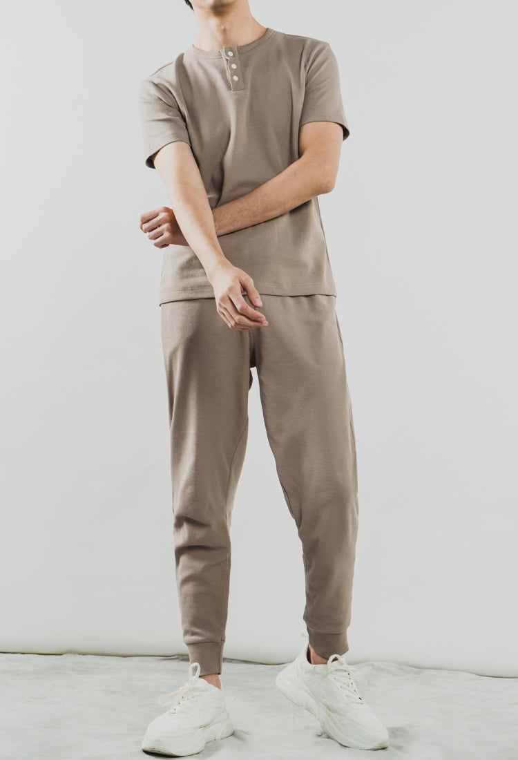 TAUPE BRIXTON SET - The Waffle Short Sleeve Henley and Jogger Set