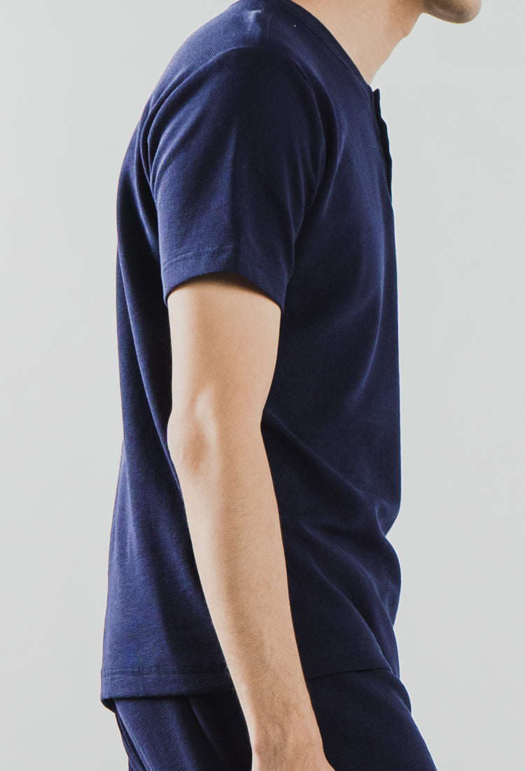 Load image into Gallery viewer, NAVY BRIXTON SET - The Waffle Short Sleeve Henley and Jogger Set