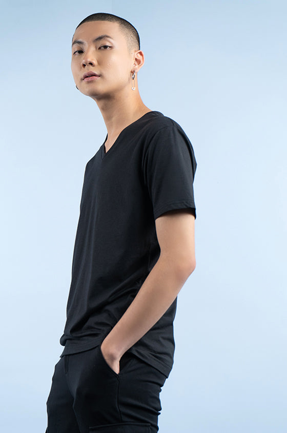 Load image into Gallery viewer, BLACK TRIGE - The Airy V-Neck Tee