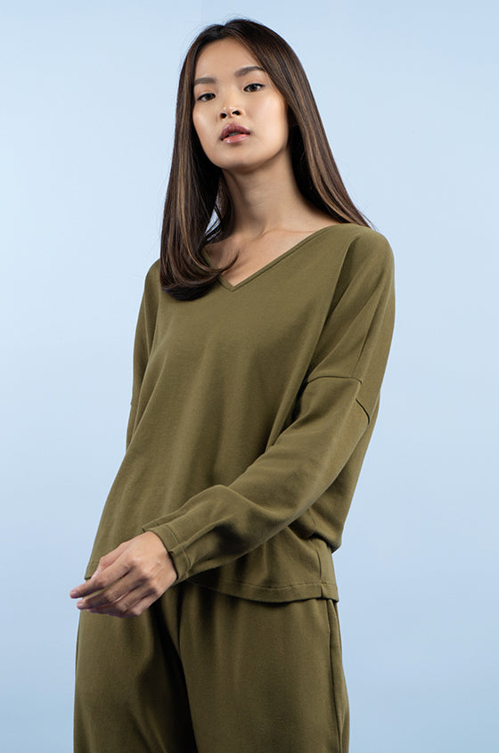 Load image into Gallery viewer, MILITARY GREEN MOTALA - The Premium Weight V-Neck Blouse