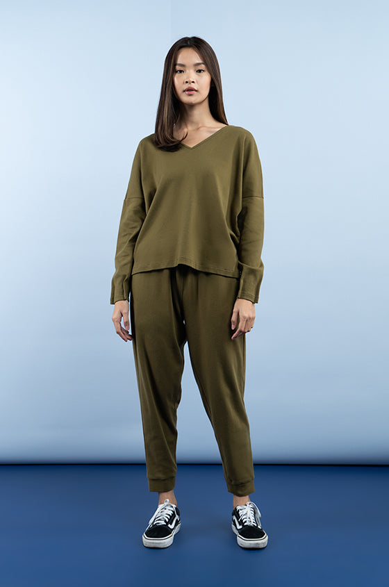 MILITARY GREEN MOTALA - The Premium Weight V-Neck Blouse