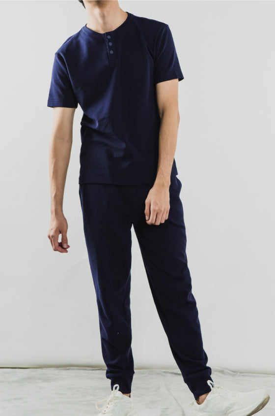 NAVY BRIXTON SET - The Waffle Short Sleeve Henley and Jogger Set