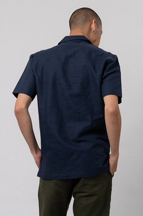 Load image into Gallery viewer, NAVY LINEN DALE - The Linen Cuban Shirt