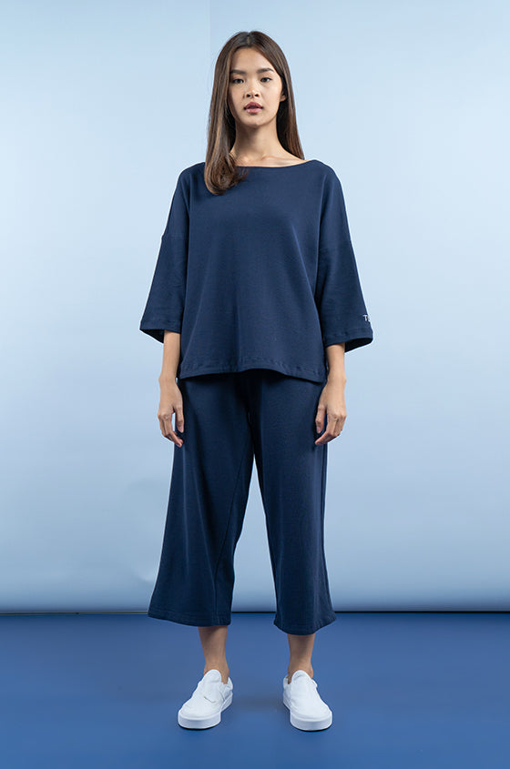 Load image into Gallery viewer, NAVY LULEA SET - The Waffle Blouse & Pants Set