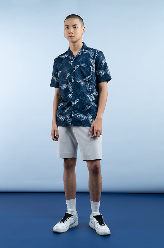 NAVY PRINTED DALE - The Lyocell Cuban Shirt