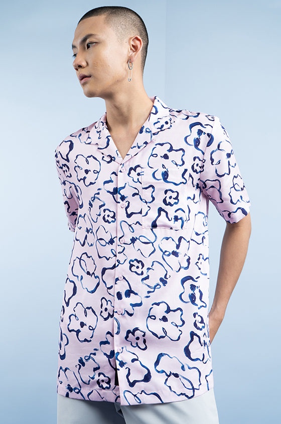 PINK PRINTED DALE - The Lyocell Cuban Shirt