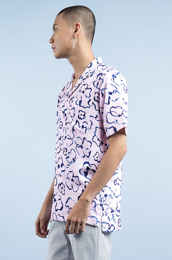 Load image into Gallery viewer, PINK PRINTED DALE - The Lyocell Cuban Shirt