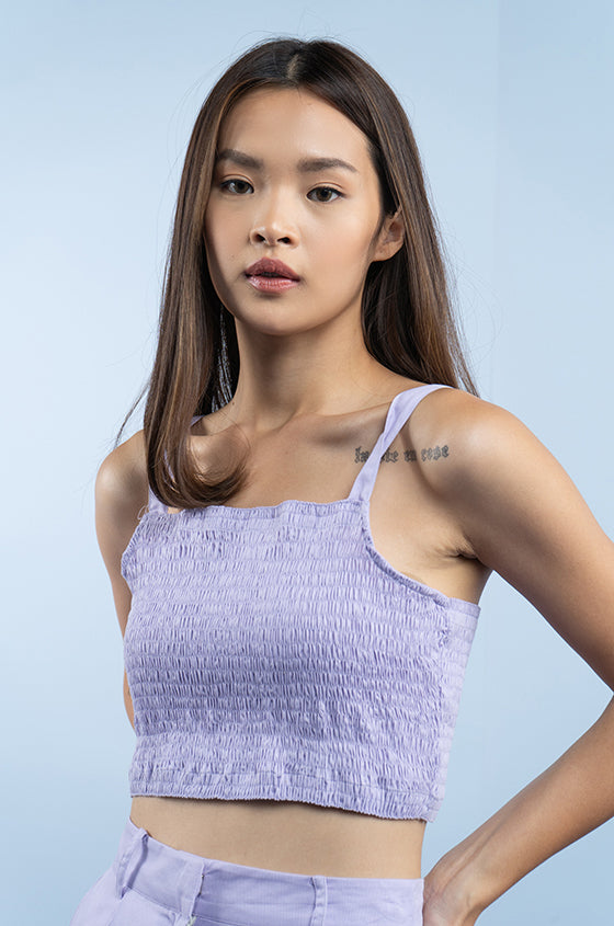 Load image into Gallery viewer, PURPLE VALUN - The Smocked Crop Cami