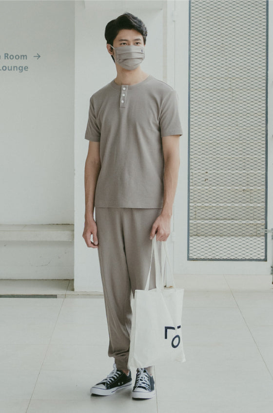 Load image into Gallery viewer, TAUPE BRIXTON SET - The Waffle Short Sleeve Henley and Jogger Set