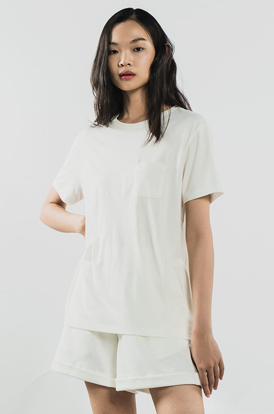 Load image into Gallery viewer, OFF-WHITE JULES SET - The Airy Pocket Tee & Shorts Relaxed Set