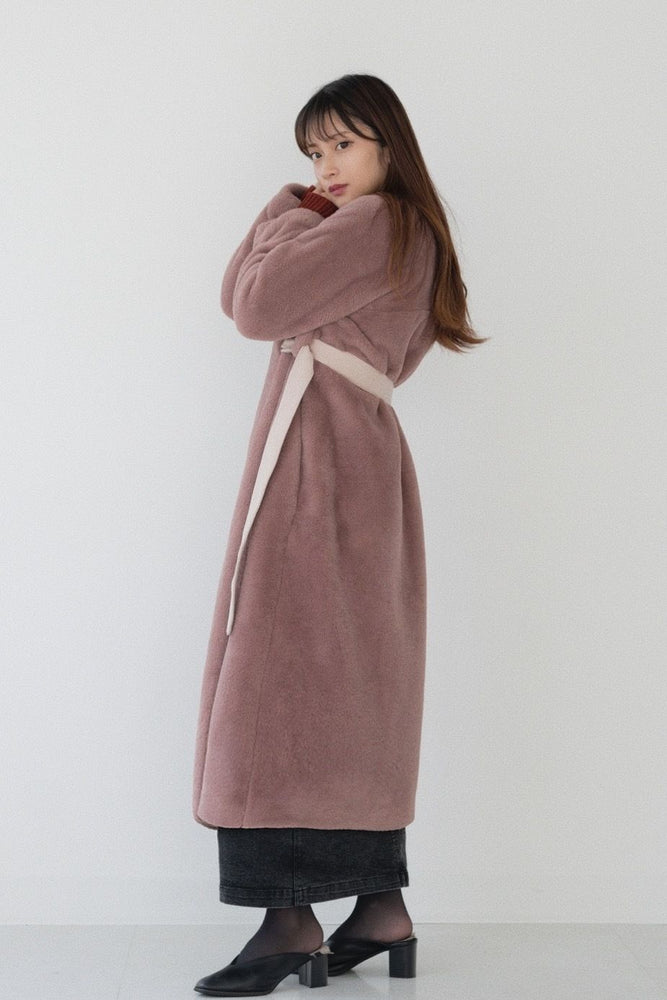 Belt far coat [PURPLE PINK]