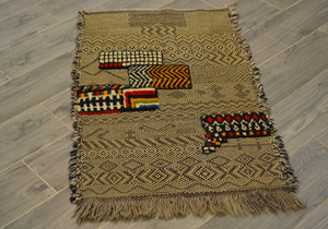 BRAIDED WOOL MOROCCAN BERBER KILIM 3,54FT x 2,36FT