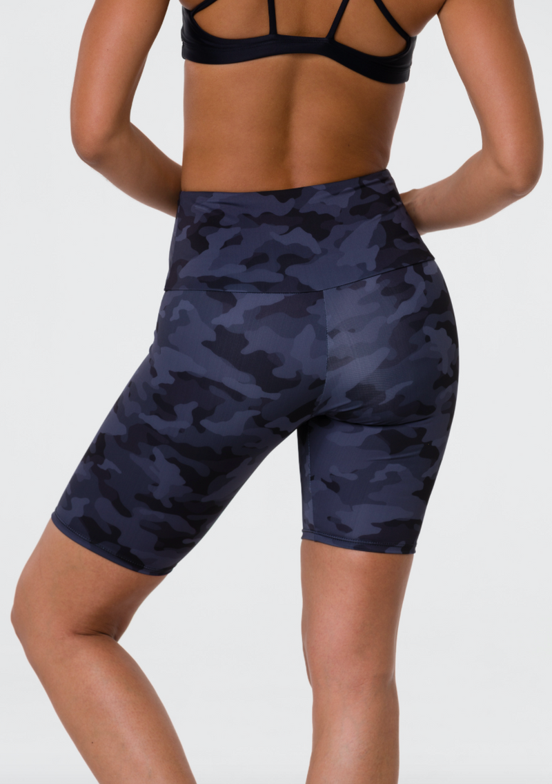 High Rise Biker Shorts in Camo