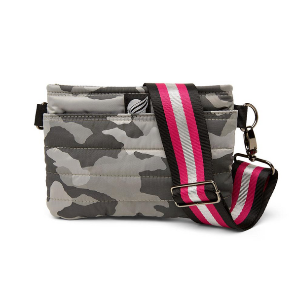 Bum Bag in Grey Camo w/ Fuchsia