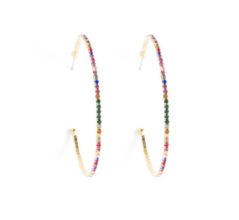 Multi Stone Gold Hoop Earrings