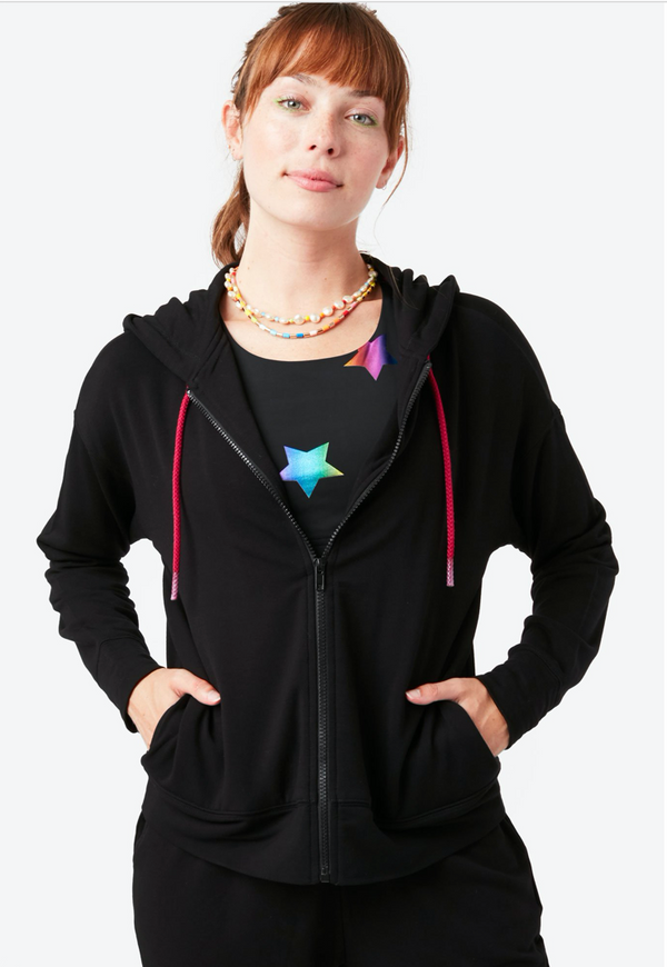 Cozy Full Zip Hoodie in Black