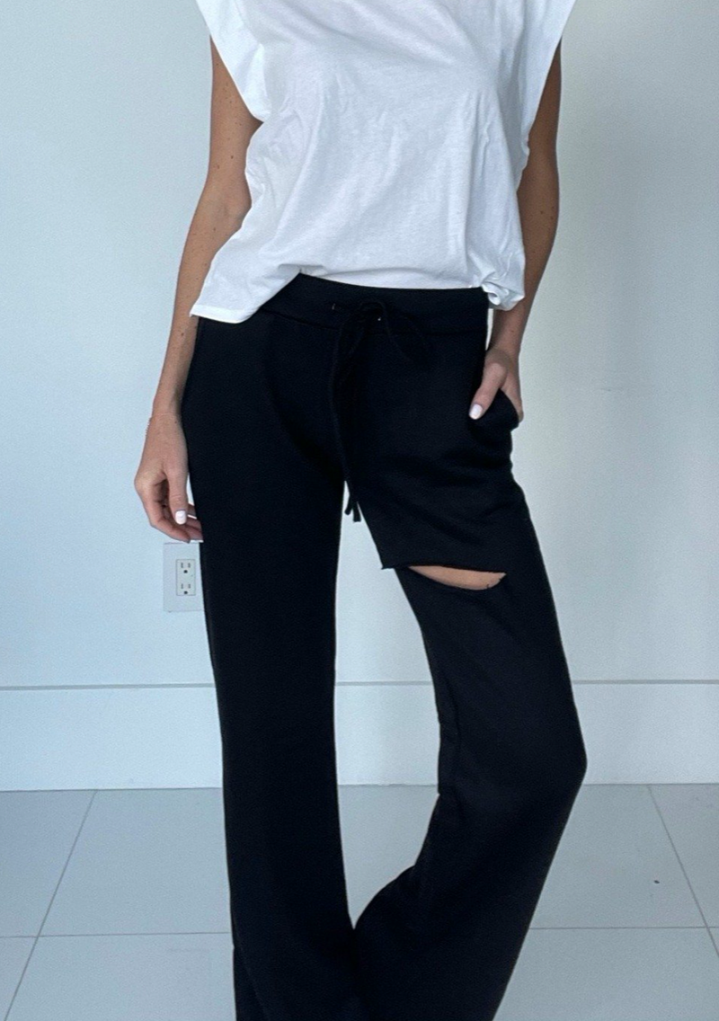 Slit Flare Sweatpants in Black