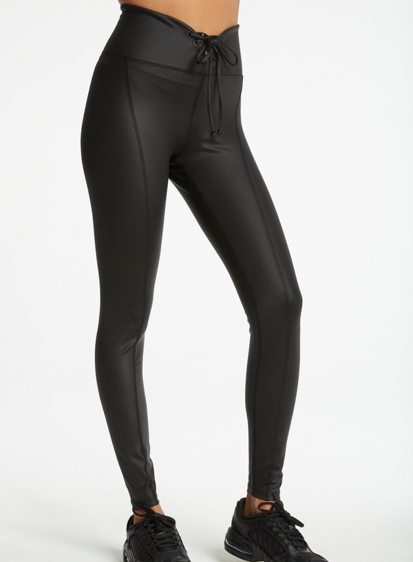 Lace Up Football Leggings in Black Gloss