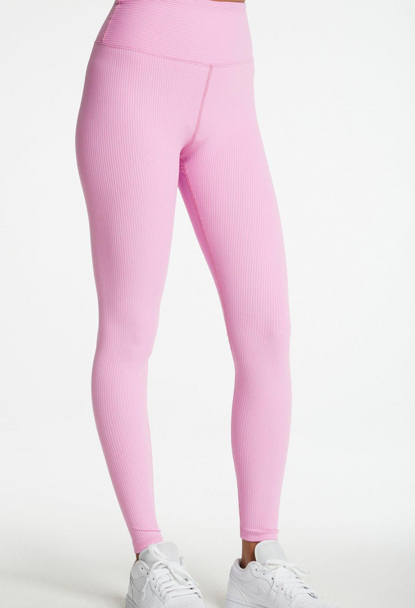 Ribbed High Waisted Leggings in True Pink