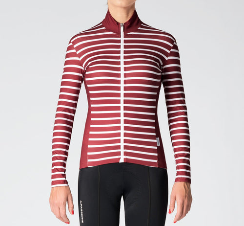 Stripes Long Sleeve Jersey Burgundy/White Woman