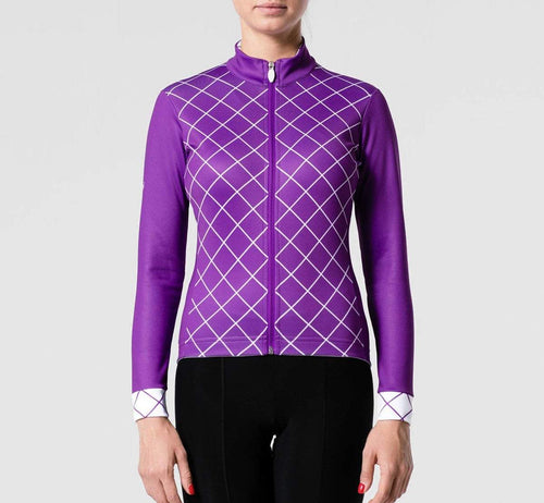 Checked Winter Jersey Purple Woman