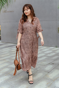 Cleo Button-up Midi Dress in Rose Gold