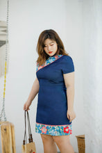 Load image into Gallery viewer, plus size denim and cotton modern cheongsam qipao