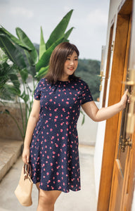 Ditsy Floral Tea Dress in Navy