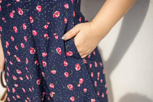Load image into Gallery viewer, Ditsy Floral Tea Dress in Navy
