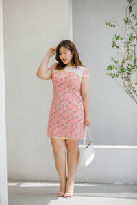 plus size pink floral modern cheongsam qipao inspired shift dress with yellow piping