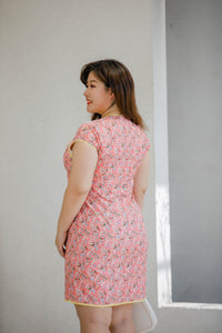 back view of plus size pink floral modern cheongsam qipao inspired shift dress with yellow piping