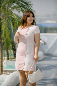 plus size modern cheongsam qipao in pink with lace overlay