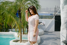 Load image into Gallery viewer, plus size modern cheongsam qipao in pink with lace overlay