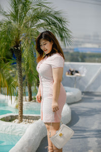 side view of plus size modern cheongsam qipao in pink with lace overlay
