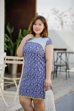 Load image into Gallery viewer, plus size blue floral modern cheongsam qipao inspired shift dress with yellow piping