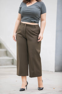 plus size olive green wide legged crop pants