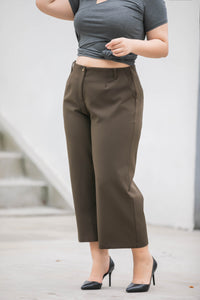 plus size dark green wide legged crop pants