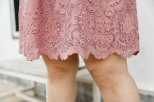 Regina Cocktail Lace Dress in Pink Rose