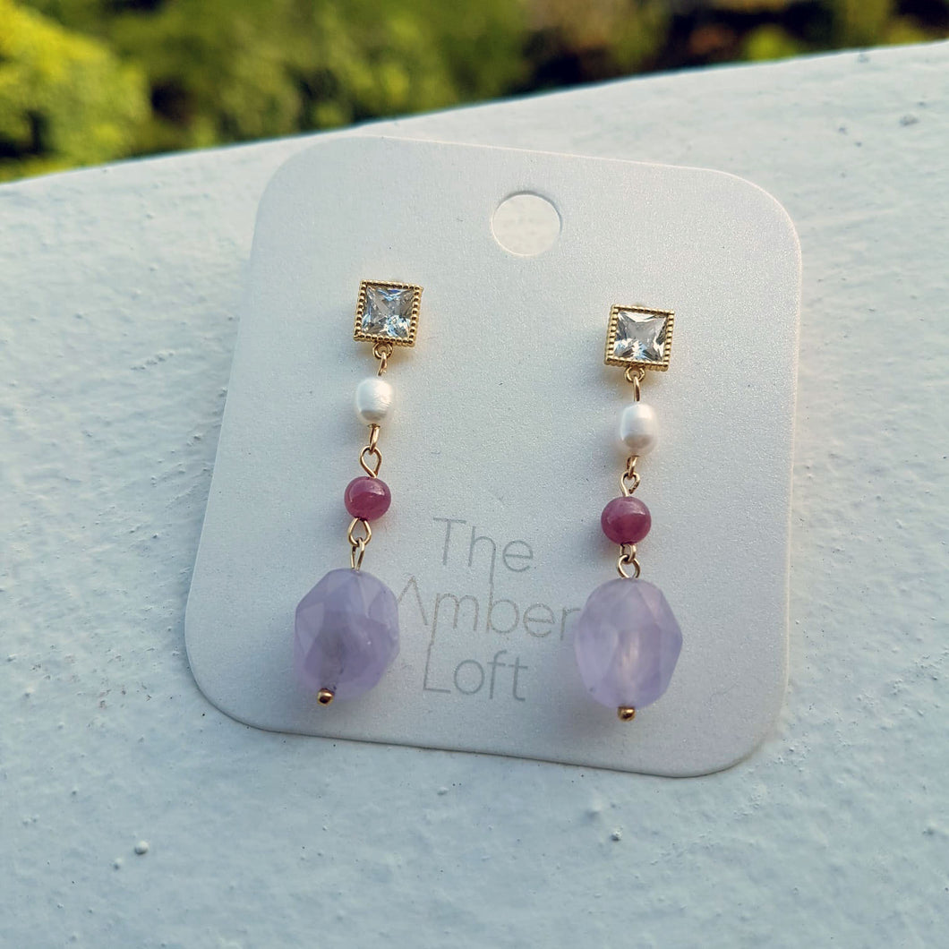 Avril Amethyst Dangling Earrings