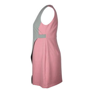 Alexa Asymetric Colour Block Dress in Grey and Pink