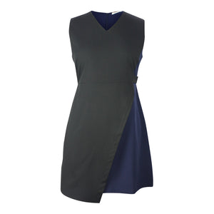 Plus size black and navy colour block sleeveless A-line dress