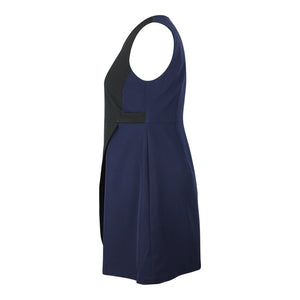 Alexa Asymetric Colour Block Dress in Black & Navy