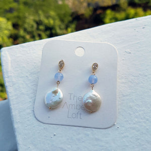 Bianca Pearl and Blue Lace Agate Dangling Earring