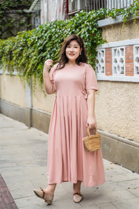 plus size pink maxi dress with side ties