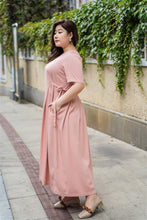 Load image into Gallery viewer, plus size pink maxi dress with side ties