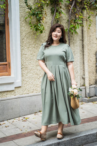 plus size green maxi dress with side ties