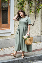 Load image into Gallery viewer, plus size green maxi dress with side ties